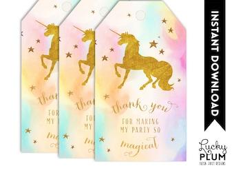 Unicorn Favor Tag / Unicorn Thank You Tag / Rainbow Favor Tag / Magical Favor Tag / Colorful Favor Tag / Horse Favor Tag / Pink Purple UC02