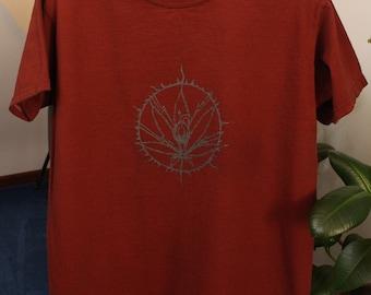 sow it - cannabis sativa hemp print t-shirt - 100% organic cotton hand dyed mens large