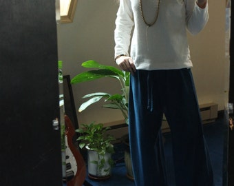 hemp pants - organic yoga / pajama / lounge pants - 100% hemp and organic cotton - hand dyed in cobalt blue - medium