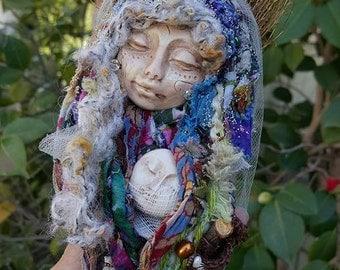 Art Doll, Kitchen witch, OOAK art doll, spirit art doll, Secret Garden Dreamer, Moon Goddess, Mothers day gift, New mom, Baby Shower gift