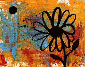 One, Colorful Flower Painting, Abstract, Modern, Whimsy, Fun, Original Painting, Original Art, Winjimir, Home Decor, Office, Wall Art, Gift
