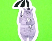 Bear with an Umbrella Woodlands Creature Brown Grizzly Fish Artsy Animals Series Illustrated Waterproof Vinyl Sticker