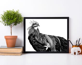 Year of the Rooster, Chinese New Year Original Ink Drawing - Art Print