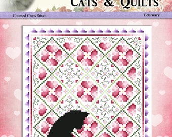 Cats And Quilts February Original Counted Cross Stitch Pattern by Pamela Kellogg