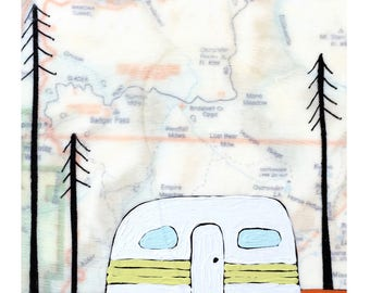 Yosemite Valley Map Print // Wanderlust // Travel Art // California // Camper Art // Airstream Art // Rachel Austin Art 11 x 14