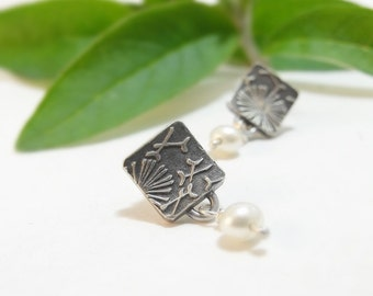 Sterling Silver Earrings Small Square Earrings Post Earrings Dandelion Floral Earrings Silver Handmade Earrings Bridal Party Gift