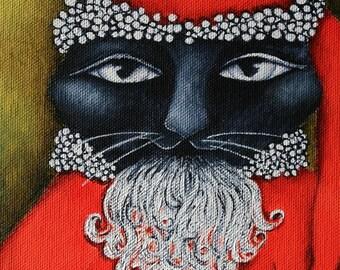 Cat Santa, Decoration, Christmas Holiday Print on Wood, stocking stuffer, gift for cat lover, wall art,folk art Santa Cat,wood block art
