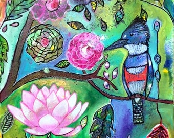 Original Modern Intuitive Painting Blue Jay Lotus Bird Art by Carol Iyer