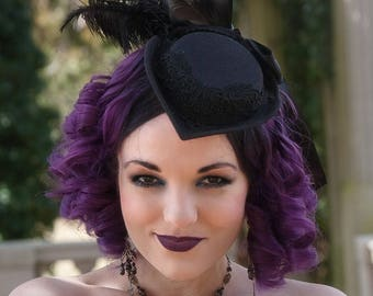 Black Swan Mini Tricorn Hat - Gothic Steampunk Rococopunk - Ready to Ship