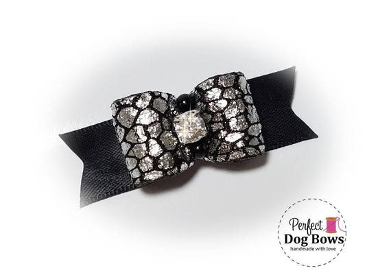 Dog Bow,  Black Formal Dog Bows, Show Dog Bow, Bows for Dog Groomers, Puppy Hair Bow
