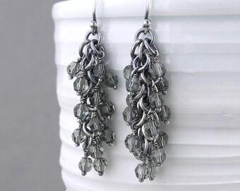 Gray Beaded Earrings Gray Crystal Earrings Dangling Earrings Silver Jewelry Gray Earrings Beaded Jewelry Crystal Jewelry - Shaggy Loops