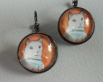 Cat by a Fishbowl - Glass and Metal Pierced Ear Earrings