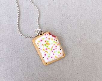 Strawberry Pop-Tart Pendant Necklace - polymer clay miniature food jewelry