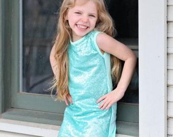 Aqua Sequin Dress - Aqua Sequin Tunic -Sequin Shift Dress - Birthday Dress - Party Dress - Sequin Tank Dress -  Aqua Dress