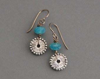 SALE! 40% off Small Pewter Gears - blue apatite