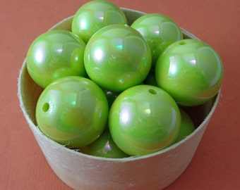 Candy Apple Green Vintage Austrian Plastic 23mm Pearlescent Beads - Lot of 18