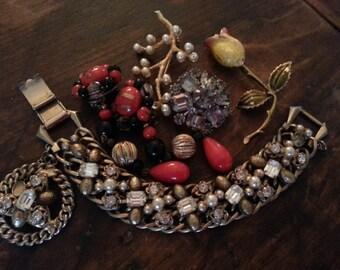 Repurpose Jewelry ... Glass Earring, Brooch and Bracelet ... Jewelry Supply, Steampunk