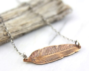 Stamped Bronze Feather and Oxidized Silver Necklace