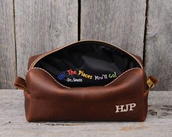 Gift for Grad Leather Toiletry Bag Travel Shaving Dopp Kit with Free Monogram Gift for Grad Grads Son Grandson Nephew Boyfriend