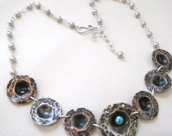 Unearthed in Pearls, Sterling Silver, Copper, Pear Necklace