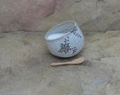 Salt Pig Cellar - Handmde Stoneware Pottery Ceramic - White - Floral - 9 ounces
