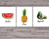watercolor Fruit THREE Spanish Language kitchen instant download prints, sandía, aguacate, piña, mexican kitchen restaurant posters food art