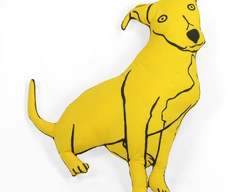 decorative pillow, pit bull shaped, large decorative pillow, yellow upholstery fabric, hand drawn plush animal softie