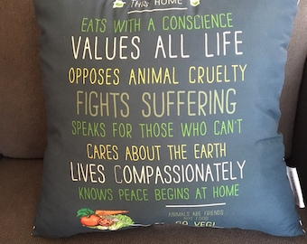 """This Home Eats With a Conscience (Go Veg!) 18x18"""" Throw Pillow"""