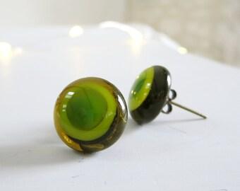 Green Glass Earrings,  Green Earrings, Fused Glass Post Earrings, Fused Glass Handmade Jewellery