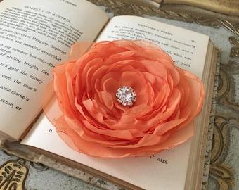 Orange Flower Hair Clip.Orange brooch.Pin.Bridesmaid.Headpiece.hair accessory.Light Orange.tangerine.Cataloupe.fascinator.hair piece.apricot