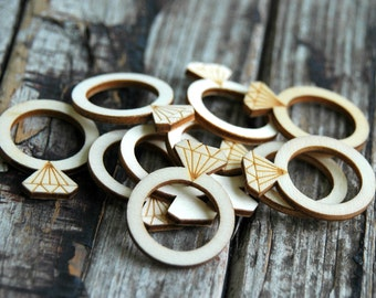 10 pcs . Wood Wedding Rings . Bridal Shower Favors . Bridal Shower Game Ideas . Rustic Bridal Shower Decorations