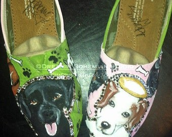Painted TOMS Shoe, Custom Dog Painting from Photo on flats, Perfect Gift Rescue Mom, Pet Adoption, Charity Donation Idea, Organization,