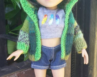 Hand-knit Doll Sweater for Makie: FOREST GREEN and SPRING Sparkles!