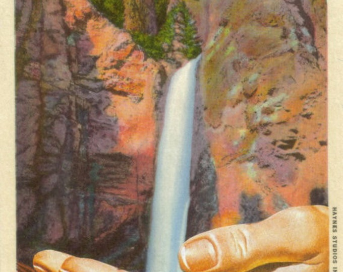 Surreal Waterfall Art Collage, Vintage Postcard, Yellowstone National Park Artwork