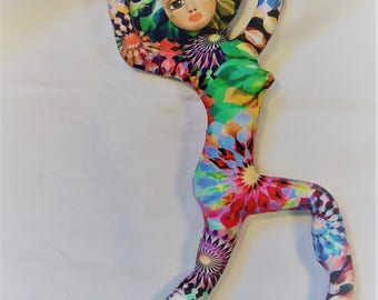 Mardi Gras Dancer fantasy cloth art doll form w/face cab 12 in. tall You finish her Bead Decorate