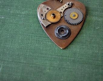 Steampunk Guitar Pick Necklace - Mens Necklace - Musician Pendant - Clockwork Gears - Gift For Him - Custom Guitar Pick