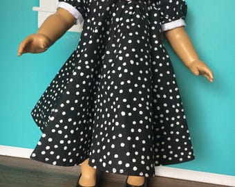 18 inch doll clothes- Black and White BLESSED  Party Dress