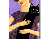 ORIGINAL cat portrait painting BLACK CAT on shoulder sweet cat folk art by Tascha