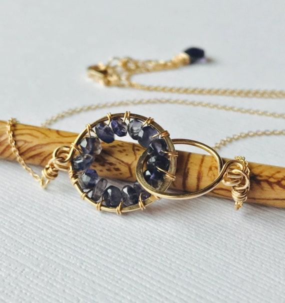 Iolite Wrapped Friendship Necklace. Gemstone Wire Wrapped Necklace.  Bridesmaid Gift. Bridesmaid Necklace