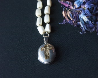 Hallowed Be Thy Name Silver Locket with Gold Cross Engraving / Mother of Pearl Beads / Unisex Necklace