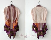 XS-XL Catch a Breeze Pashmina Shrug Blouse Top Tunic ~ gypsy kimono bolero shawl boho chic upcycled handmade clothing scarf wearable art