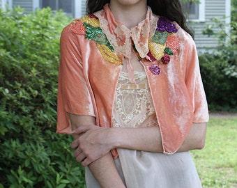 As Seen in VOGUE Boudoir Queen Lucille Bed Jacket Peach Velvet with Sequin Fruit
