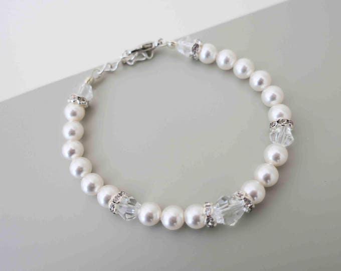 Swarovski Pearl and Crystal Bracelet Bridal Rhinestone Bracelet Ivory Pearls Wedding Bracelet Classic Wedding Jewelry for Brides  maid