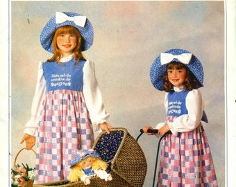 Butterick 5041 HOLLY HOBBIE COSTUME Dress and Big Hat Sizes 4 - 14 Small, Medium, Large, Extra Large ©1990