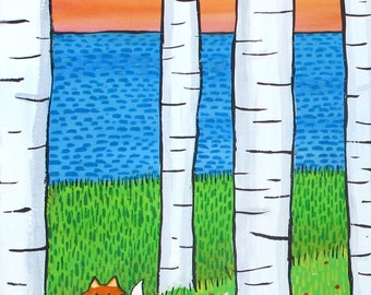 Fox Birch trees summer Shelagh Duffett Vertical Print