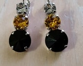 Rhodium Plated Clear, Black and Gold Swarovski Crystal Leverback Earrings