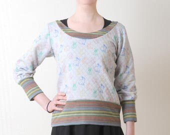 Grey sweatshirt with rabbit print, Grey and rainbow jersey sweater, with multicolored stripes, MALAM, Womens clothing, size UK 10