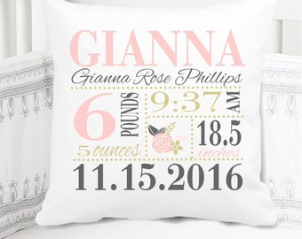 Girls Birth Announcement Pillow - Floral - Pink Gold Grey