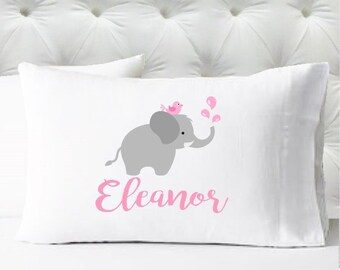 Personalized Girls Pillowcase - Elephant Pillowcase in Pink and Gray - Kids Pillow Case - Standard Size Pillowcase