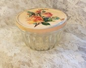 upcycled vintage kerr jelly glass jar shabby chic cottage peach with peachy orange roses glitter repurposed upcycled canning metal tin lid
